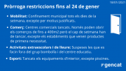 Es prorroguen les restriccions per frenar la Covid-19 fins al 24 de gener