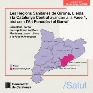 Regions sanitàries Catalunya 18 de maig