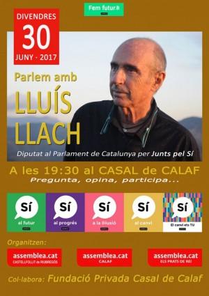 Cartell conferència Lluís Llach, diputat de Junts pel Sí