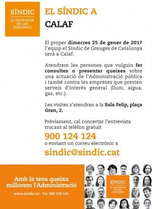 El Síndic de Greuges de Catalunya visitarà Calaf el dimecres 25 de gener.