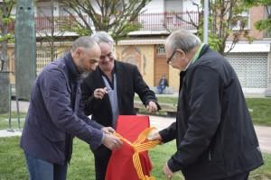Jordi Badia, alcalde de Calaf, acompanyat dels regidors de l'època Ramon Bojons i Jordi Mas