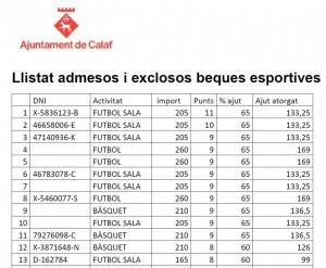 Llistat admesos i exclosos beques esportives 2019-2020