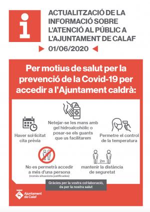 Mesures de seguretat atenció presencial Ajuntament de Calaf