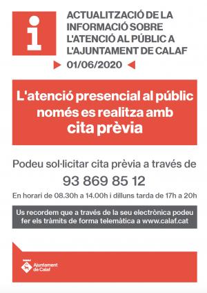 Atenció Ajuntament de Calaf amb cita prèvia - fase 2