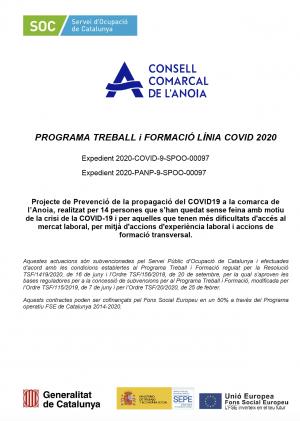 Programa Treball i formació línia Covid-19