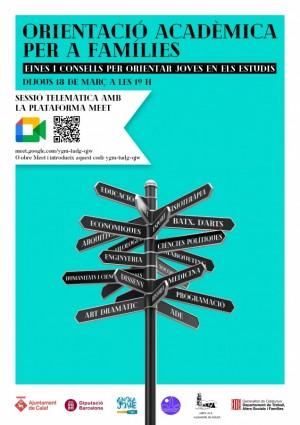 Orientació per a famílies estudis - xerrada online 18 març