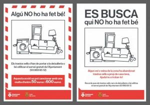 Exemple adhesius i cartells campanya sensibilització trastos vells i voluminosos abandonats al carrer