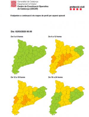 Previsió vent CECAT dilluns 2 de març 2020