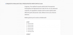 Enquesta de valoració pressupostos participatius de Calaf