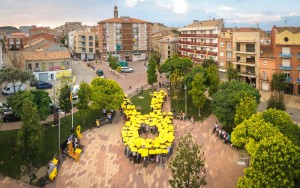 Foto zenital mosaic humà llaç groc