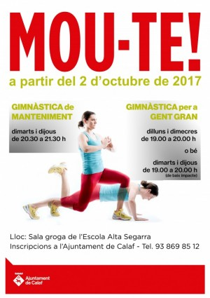 Les classes de gimnàstica començaran el pròxim 2 d'octubre