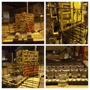 Escultura presó Calaf muntada abans de la destrossa
