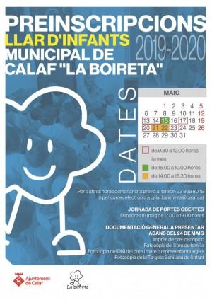 Cartell Pre-inscripcions llar d'infants municipal