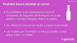 Prohibició del consum de begudes alcohòliques al carrer a tot Catalunya