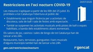 Restriccions oci nocturn a Catalunya - 25/07/2020