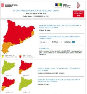 Alerta onada de calor Servei Meteorològic de Catalunya