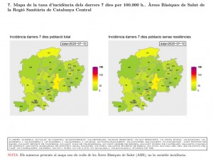 Mapa de la taxa d'incidència per regió santiària dels darrers 7 dies per 100.000 h