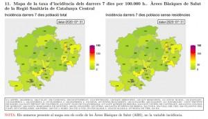 Taxa incidència Catalunya Central (a 31 de juliol de 2020)