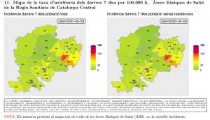 Taxa incidència Catalunya Central (actualització a 09 d'agost)