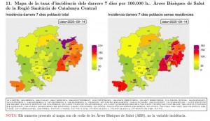 Taxa incidència Catalunya Central darrers 7 dies