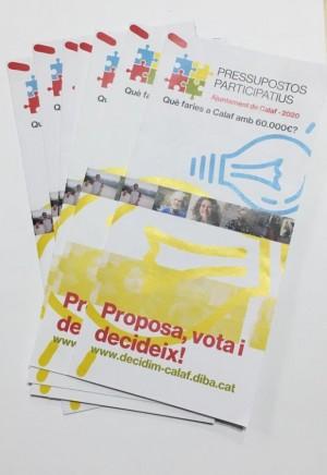 Butlletes de presentació de propostes Pressupostos Participatius Calaf 2020