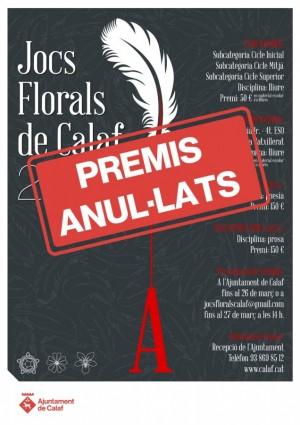 Premis Jocs Florals anul·lats
