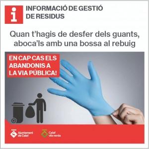 cartell no abandonament de guants de plàstic dpun sol ús a la via pública