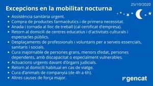 Excepcions a la mobilitat nocturna