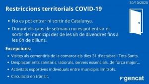 Restriccions territorials Covid-19 resolució 29 d'octubre