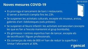 Noves mesures Covid-19 resolució 29 d'octubre