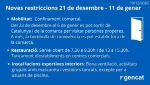 Noves mesures del 21 de desembre a l'1 de gener