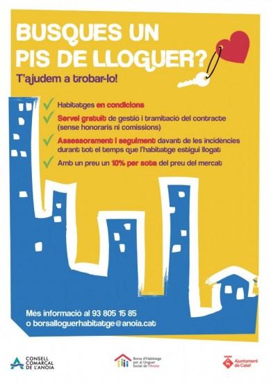 Cartell per a llogaters - campanya borsa lloguer social Calaf (Anoia)