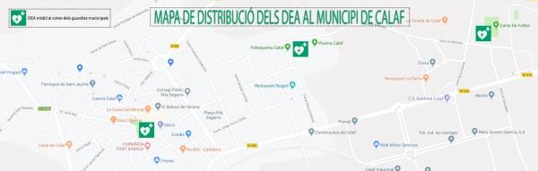 Mapa distribució dels DEA al municipi de Calaf