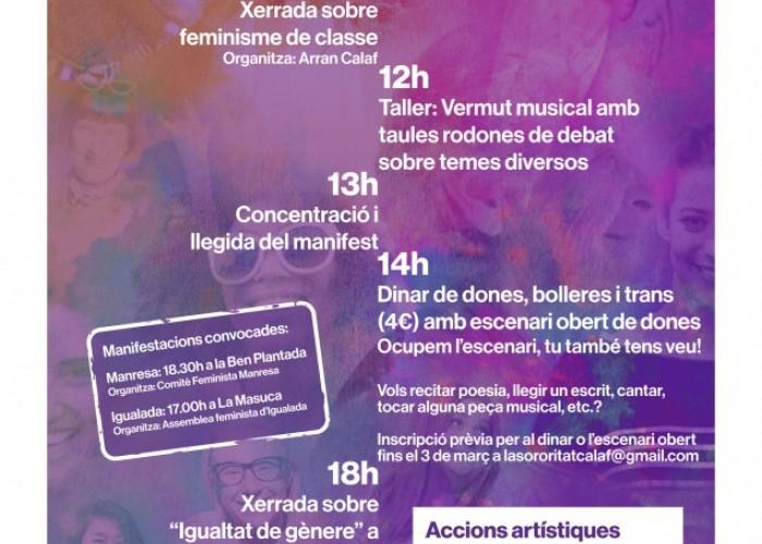 Calaf organitza una jornada lúdica i reivindicativa en el marc del Dia Internacional de la Dona