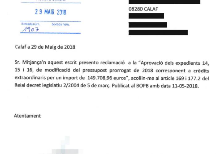 Un veí presenta una al·legació a la modificació de pressupost d'abril i bloqueja 150.000 euros de subvencions