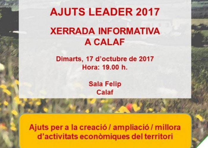 Canvi d'horari de la xerrada sobre els ajuts LEADER 2017