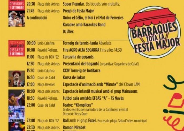 Txarango, Mirabet i La Principal de la Bisbal, punts forts de la Festa Major de Calaf
