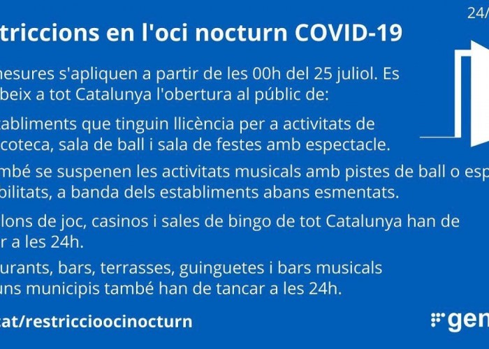EL PROCICAT suspèn l'obertura al públic de discoteques, sales de ball i sales de festes amb espectacle a Catalunya