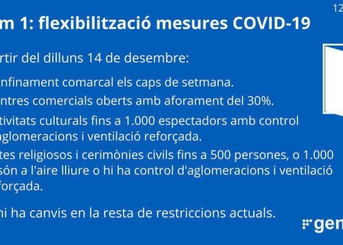 La Generalitat flexibilitza algunes mesures del tram 1 a partir del 14 de desembre