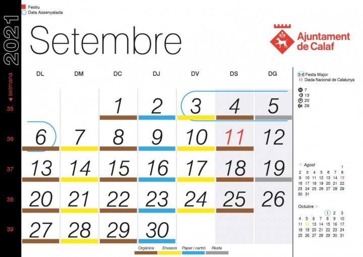Calendari porta a porta - Setembre 2021