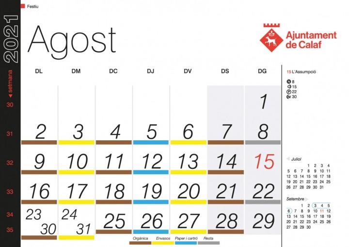 Calendari Agost Porta a Porta