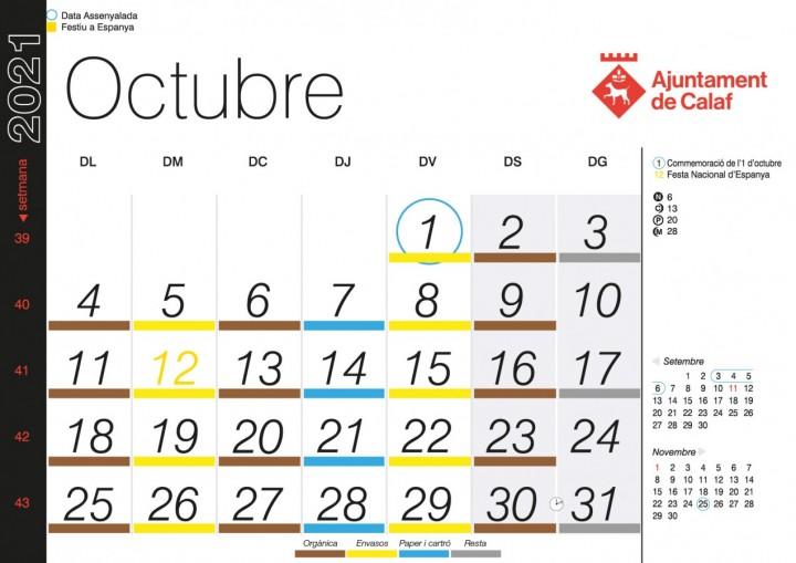 Calendari Recollida Porta a Porta - Octubre 2021