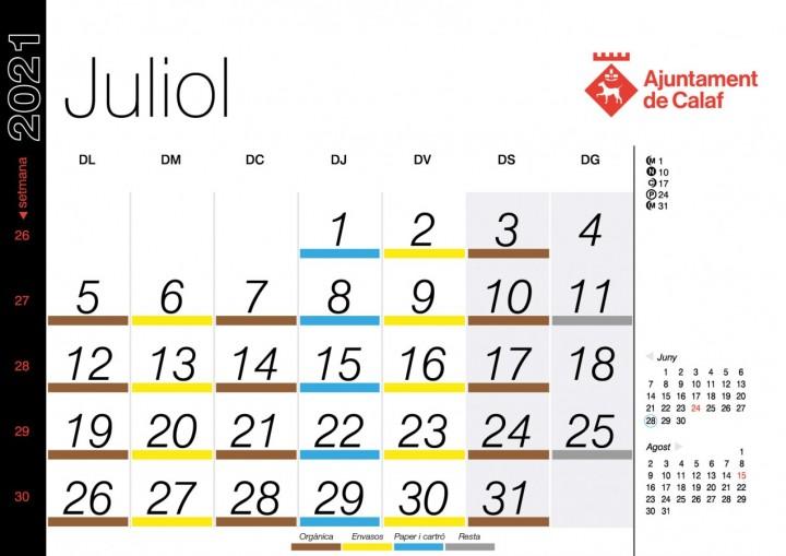 Calendari Juliol Porta a Porta